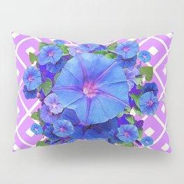 Lilac-White Pattern Blue Morning Glories Art Pillow Sham