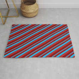Deep Sky Blue, Red & Dark Red Colored Lines Pattern Rug