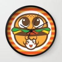 pagan Wall Clocks featuring Pagan Burger by Pagan Holladay