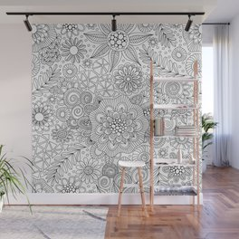 White Doodle Pattern Wall Mural