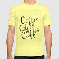 COFFEE COFFEE COFFEE SMALL Mens Fitted Tee Lemon