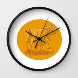 Farrier Placing Shoe on Horse Hoof Circle Drawing Wall Clock