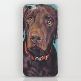 Chocolate lab LABRADOR RETRIEVER dog portrait painting by L.A.Shepard fine art iPhone Skin