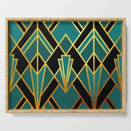 Art Deco Keep On Walking In Turquoise Serving Tray