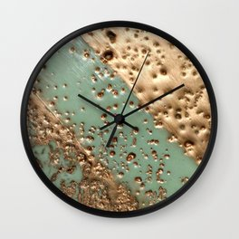 Melting Gold - Encaustic painting on stone Wall Clock