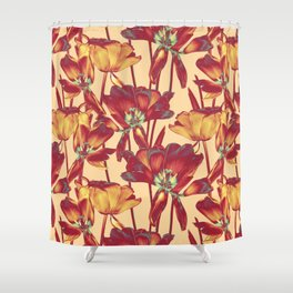 Tulips in Forever Golden Shower Curtain