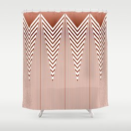 Art Deco Geometric Arrowhead Dusty Peach Design Shower Curtain