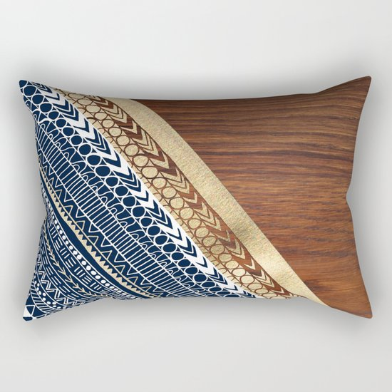 Navy & Gold Tribal on Wood Rectangular Pillow