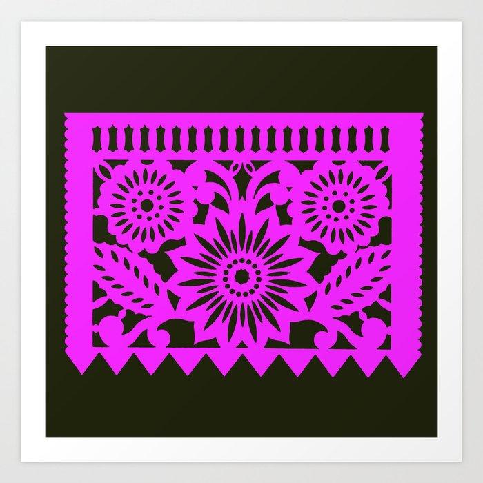 Papel Picado - Pink + Black Art Print