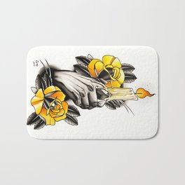 Hand holding CANDLE - tattoo Bath Mat