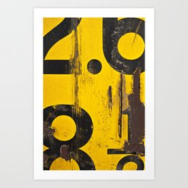 black numbers on yellow background Art Print