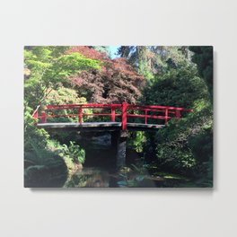 Red bridge at Kubota Garden Metal Print