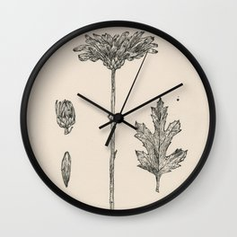 Floral Ink Drawing II Wall Clock