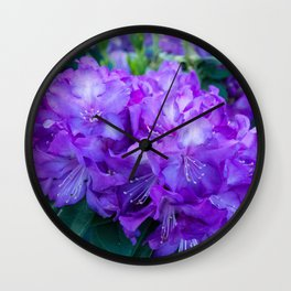 Majestic Purple Rhododendron Wall Clock