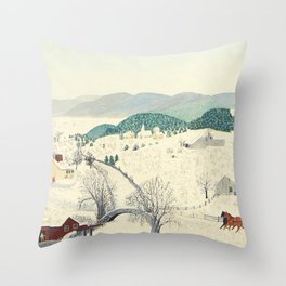 Anna Mary Robertson 'Grandma' Moses To Grandma's House We Go on Thanksgiving Day Folk Art Throw Pillow