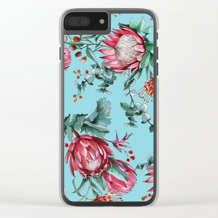 King protea flowers watercolor illustration Clear iPhone Case