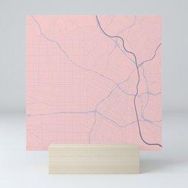 Los Angeles, California City Map in Rose Quartz Mini Art Print