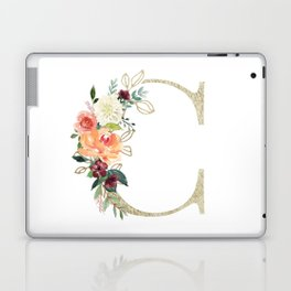 C Monogram, gold foil and watercolor flowers Laptop & iPad Skin