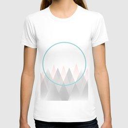 Minimal Abstract Graphic Mountains Circle Blue Pink Gray T-shirt