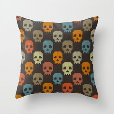 Knitted skull pattern - colorful Throw Pillow