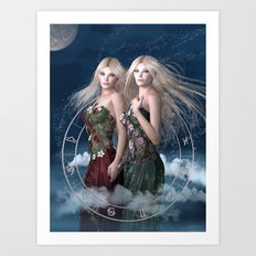 Gemini zodiac fantasy Art Print