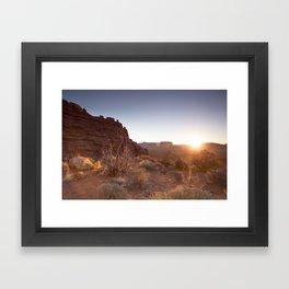 Setting Desert Sun Framed Art Print