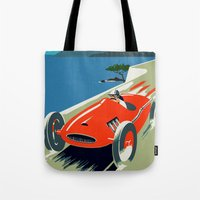 grand theft auto Tote Bags featuring Retro style auto Grand Prix Rivièra by aapshop