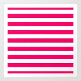 Bright Fluorescent Pink Neon and White Large Horizontal Cabana Tent Stripe Art Print