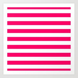 Bright Fluorescent Pink Neon and White Large Horizontal Cabana Tent Stripe Art Print