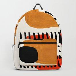 Mid Century Modern Abstract Minimalist Retro Vintage Style Fun Playful Ochre Yellow Ochre Orange  Rucksack