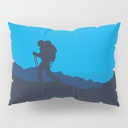 Hiker At Blue Winter Night Pillow Sham