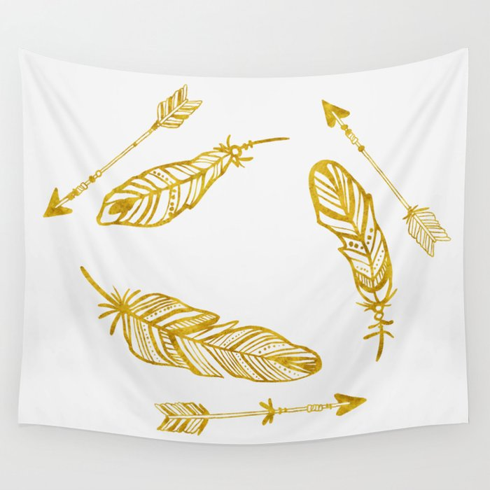 Golden Feathers and Arrows Wall Tapestry by orcevasilev | Society6