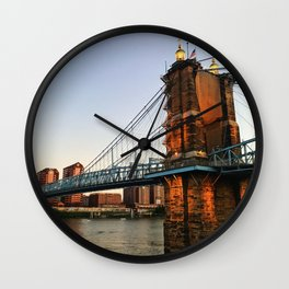 roebling suspension bridge Wall Clock