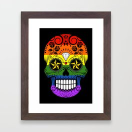 Gay Pride Rainbow Flag Sugar Skull with Roses Framed Art Print