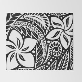 Circular Polynesian White Floral Tattoo Throw Blanket