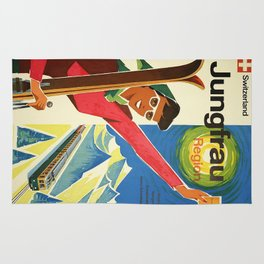 Classic Vintage Travel Poster Rug