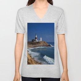 Crispy Morning at Montauk Point Lighthouse Long Island New York Unisex V-Neck