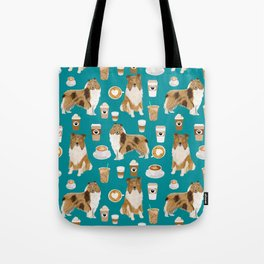 Rough Collie coffee pet portrait dog art by pet friendly latte coffee dog lover gifts Tote Bag