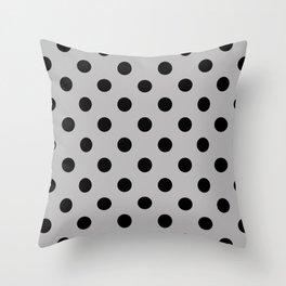 XX Black on Silver Polka Dots Throw Pillow