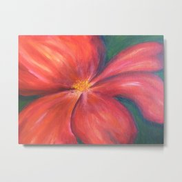 Red poppy flower. Floral acrylic painting Metal Print