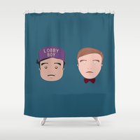 the grand budapest hotel Shower Curtains featuring Gustave & Zero - Grand Budapest Hotel by InQuadricromia