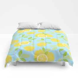 Bright And Sunny And Stamped Lemon Citrus Pattern Comforters
