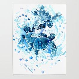 Three Sea Turtles, blue bathroom turtle artwork, Underwater Poster