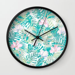 Tropical pink jade green turquoise monstera leaves pattern Wall Clock