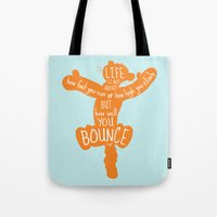 tigger Tote Bags featuring Life is about ... How Well You Bounce - Winnie the Pooh / Tigger inspired Print by Kitchen Bath Prints