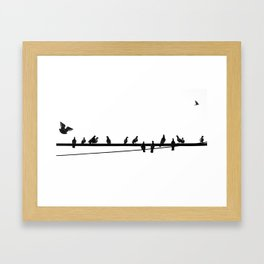 Pigeon on Wire Framed Art Print