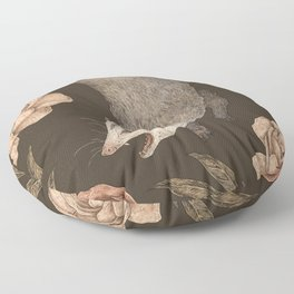 The Opossum and Peonies Floor Pillow