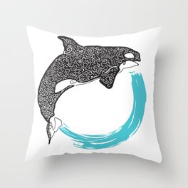 Orca Circle Throw Pillow