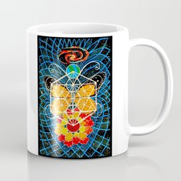 Butterfly Space Flower Galaxy Tapestry Painting Visionary Psychedelic Art (Sacred Feminine) Coffee Mug