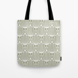 Retro Art, Floral Prints, Light Sage Green and White Tote Bag